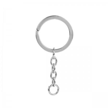 RVS Sleutelhanger ketting met ring Antiek zilver