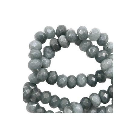 Natuursteen rond 4mm facet geslepen Dark grey