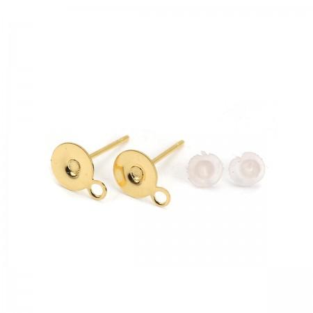 RVS oorstekers met stud en oogje stainless steel Goud plated