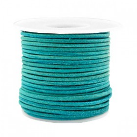 DQ leer rond 2 mm Antique turquoise green