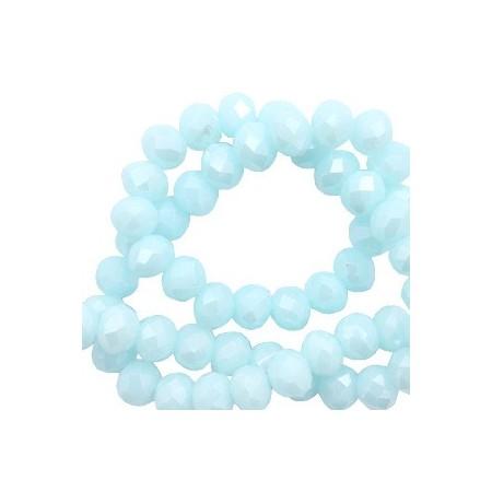 Facet kralen 8x6mm disc Island paradise blue-pearl shine coating