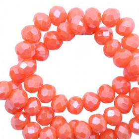 Facet kralen 6x4mm disc Tigerlily coral red-pearl shine coating