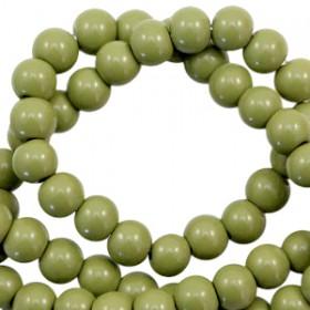Glaskraal 6 mm opaque Olive green