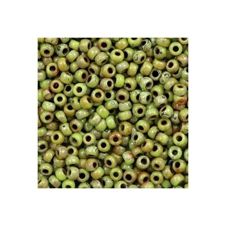 Miyuki Rocailles 8/0 Opaque picasso chartreuse green