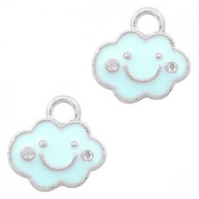 Bedeltje wolk Zilver-Light blue