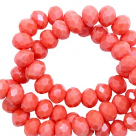 Facet kralen 6x4mm disc Coral red-pearl shine coating
