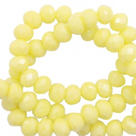 Facet kralen 6x4mm disc Sunshine yellow-pearl shine coating