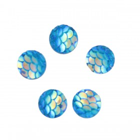 8mm cabochon Mermaid/Dragon Scale Light Blue AB