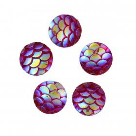8mm cabochon Mermaid/Dragon Scale Fuchsia AB