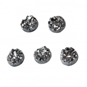 8mm cabochon resin druzy Silver-gray