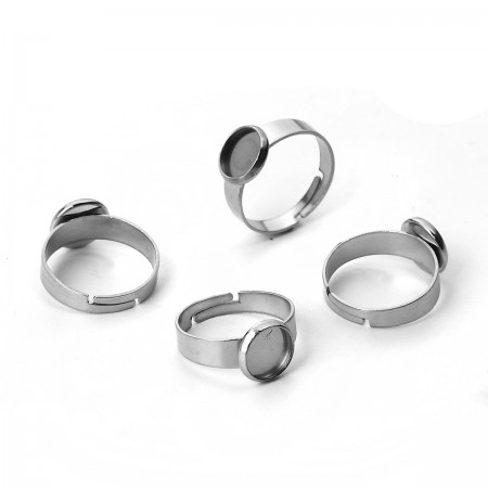 RVS ring voor 8mm cabochon stainless steel Zilver