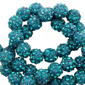 Czech rhinestone beads 8mm Teal blue