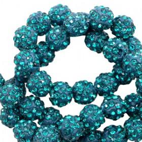 Czech rhinestone beads 8mm Teal blue
