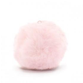 Pompom 3.5cm met oog faux fur Light pink