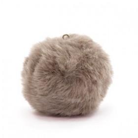 Pompom 3.5cm met oog faux fur Taupe brown