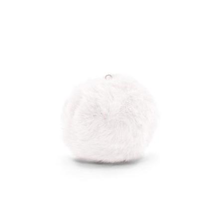 Pompom 3.5cm met oog faux fur White