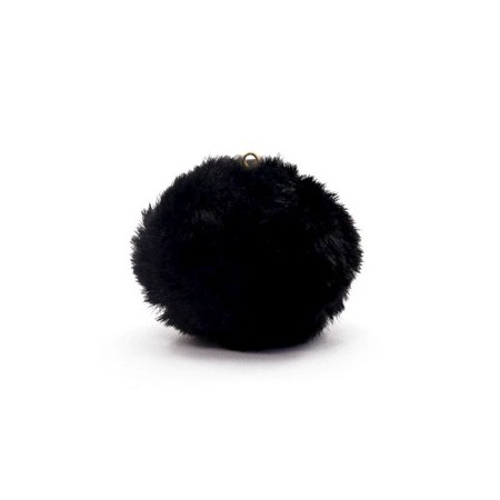 Pompom 3.5cm met oog faux fur Black