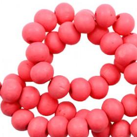 Houten Kralen Rond 6mm Calypso coral pink