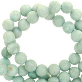Natuursteen mountain jade rond mat 6mm Cameo green