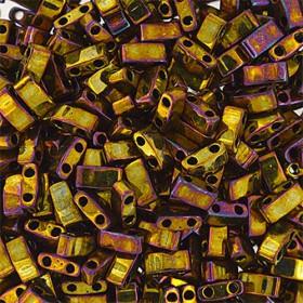 Miyuki half tila 2.3x5 mm metallic gold iris