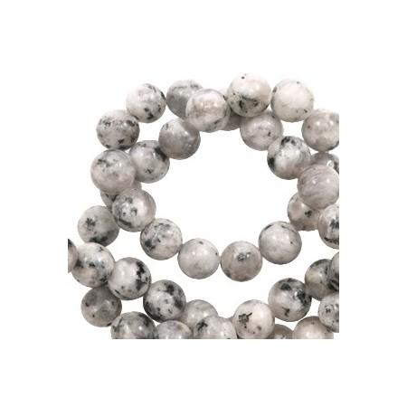 Natuursteen ronde kralen 8mm White-black mix
