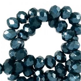 Facet kralen 6x4mm disc Depths greenish blue-pearl shine coating