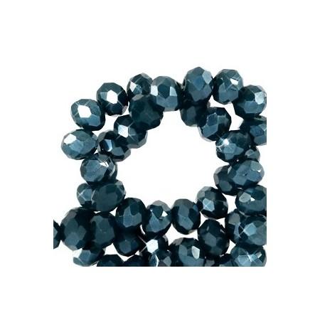 Facet kralen 4x3 mm disc Depths greenish blue-pearl shine coating