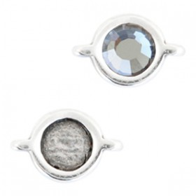 DQ metalen setting rond met 2 ogen voor SS20 flatback Antiek zilver (nikkelvrij)