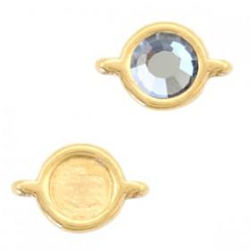 DQ metalen setting rond met 2 ogen voor SS20 flatback Goud (nikkelvrij)