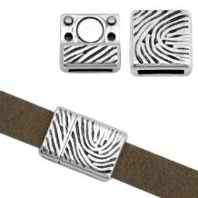DQ metaal magneetslot Fingerprint (voor DQ leer plat 10mm) Antiek zilver (nikkelvrij)