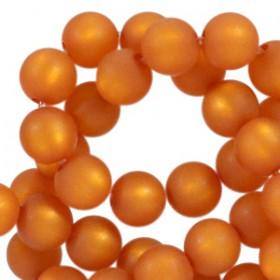 Polaris kralen rond 10mm pearl matt Burnt orange