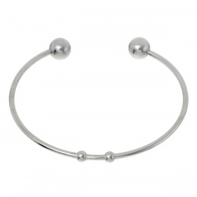 RVS stainless steel bangle bracelet zilver 16,5cm