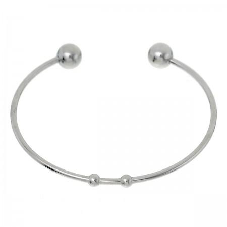 RVS stainless steel bangle bracelet zilver 16,5cm
