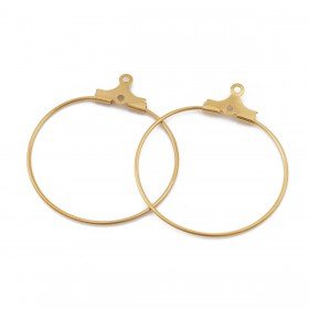 RVS oorring hangers 27mm goud plated