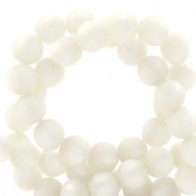 Polaris kralen rond 8mm pearl matt Bianco white