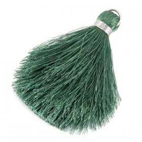 kwastjes 6cm Balsam green-zilver