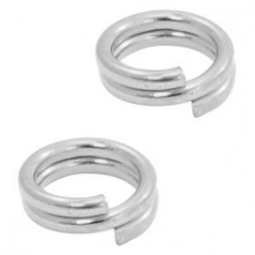 DQ metalen dubbele splitring zilverkleur 7mm