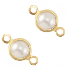 DQ bedel/tussenstuk met parel 4mm rond Gold-White