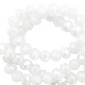 top facet kralen 6x4mm disc White-pearl shine coating