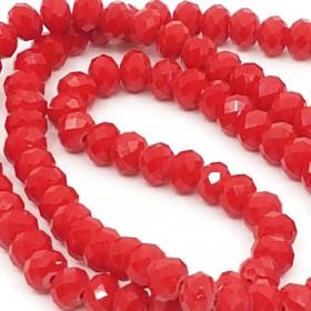 Facet kralen 4x6 mm disc Crimson red opaque