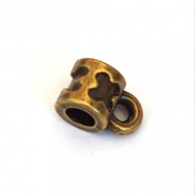 Metalen ring met oog voor 4 mm leer Antiek brons