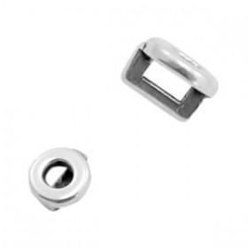 DQ metaal schuiver rond Ø3.2x1.8mm Antiek zilver (nikkelvrij)