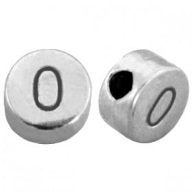 DQ metaal cijferkraal 0 antiek zilver