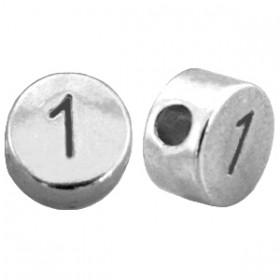 DQ metaal cijferkraal 1 antiek zilver
