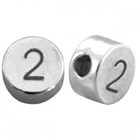 DQ metaal cijferkraal 2 antiek zilver