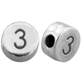 DQ metaal cijferkraal 3 antiek zilver