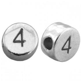 DQ metaal cijferkraal 4 antiek zilver