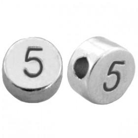 DQ metaal cijferkraal 5 antiek zilver