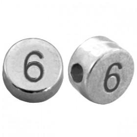DQ metaal cijferkraal 6 antiek zilver