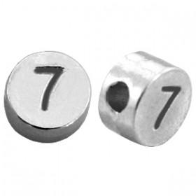 DQ metaal cijferkraal 7 antiek zilver
